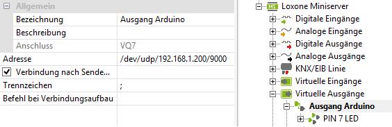 Loxone UDP Kommunikation - Loxone Config UDP Ausgang