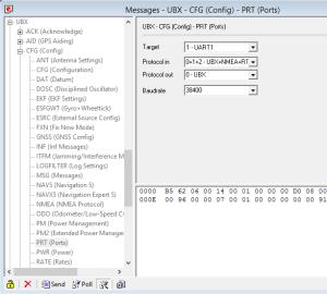 u-blox u-center Software - UBX-CFG-PRT