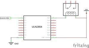 Relais am Loxone Analogausgang mit ULN2804 - Schaltplan