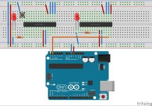 MCP23017 I2C IO Port Expander - Steckplatine Beispiel