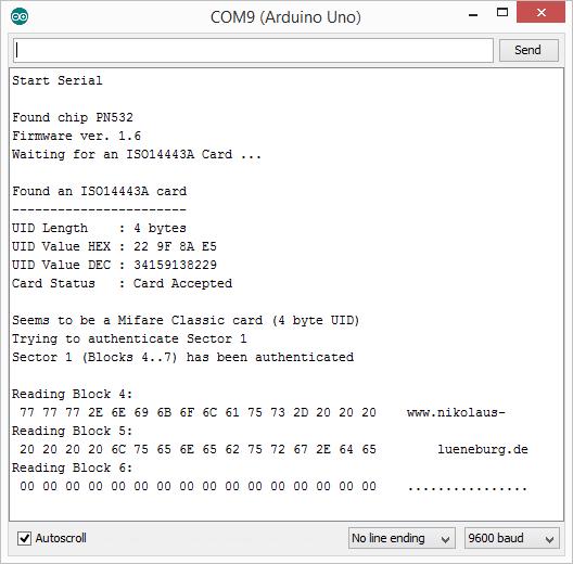 RFID PN532 Mini Breakout Modul - Serial Monitor