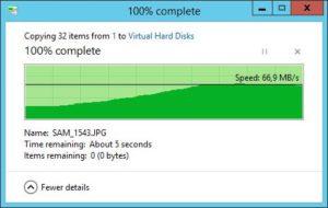 HP ProLiant MicroServer - Transferraten - 32 JPEG 8MB HP WD Red auf Server 3.0 SSD