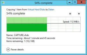 HP ProLiant MicroServer - Transferraten - VDHX Datei von Server 3.0 SSD auf HP WD Red