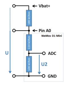 Spannungsteiler - Wemos D1 mini - Zeichnung