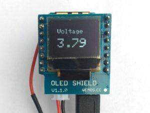 Wemos D1 mini Battery Shield - OLED LiPo Voltage