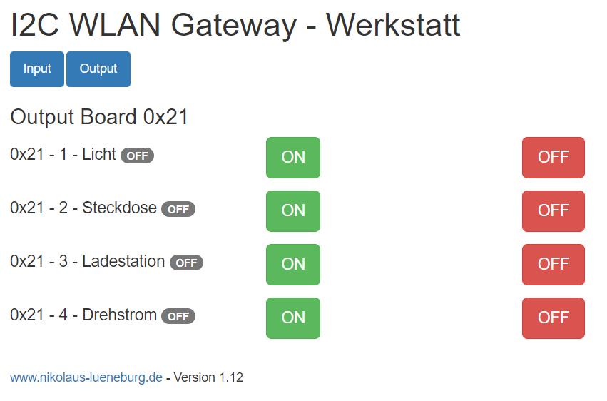 I2CWLANGateway - WebGUI
