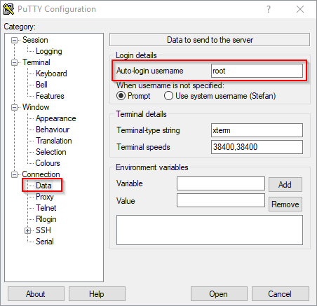 Public Key Authentication - PuTTY Configuration - Auto-Login