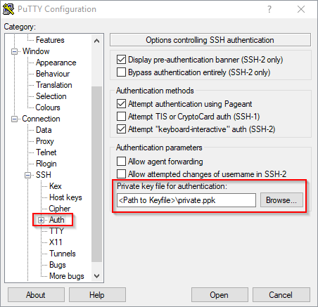 Public Key Authentication - PuTTY Configuration - Private Key